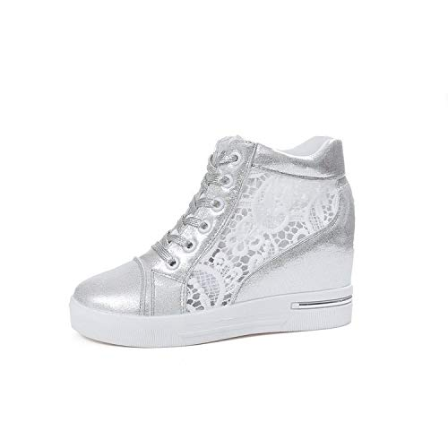 Uhrtimee Neue Sportschuhe Neue Mesh-Sneakers Lässig Erhöhte Hohe Wildweiß-Schuhe Damenschuhe, Silber, 37