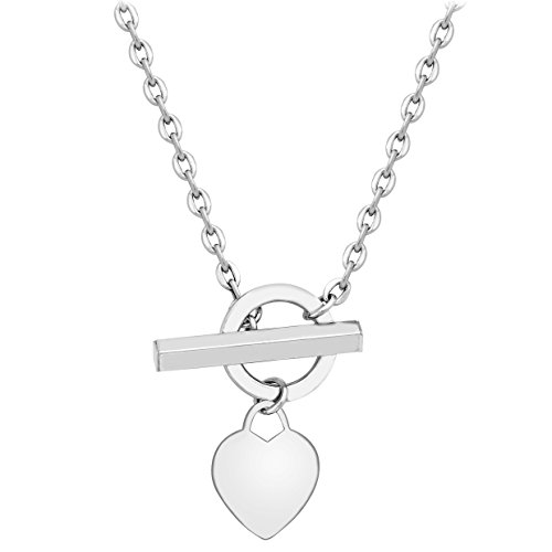 """Carissima Gold 9ct White Gold Semi Hollow Heart Tag T-Bar Chain Necklace of 46cm/18"""""""