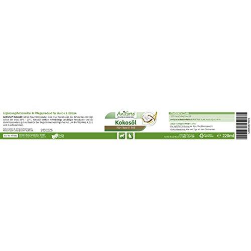 AniForte Kokosöl aus kontrolliertem Anbau 220 ml – Naturprodukt für Hunde und Katzen - 4