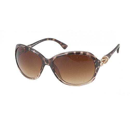 Lunettes de soleil Chic-Net Femmes Lunettes de vue en métal de courroie de charme de style 400UV teinté brun à motifs B0ZSauz