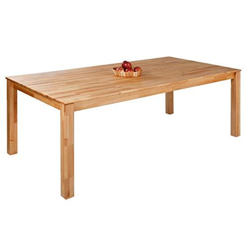 Krokwood Bonn Massivholz Esstisch in Buche 180x90x75 cm FSC 100% massiv Tisch geölt Buchenholz Esszimmertisch für Küche praktischer Küchentisch fester Holztisch vom Hersteller und kostenlose Lieferung