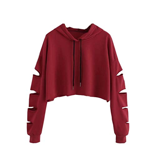 Tefamore Mode Casual Femmes Manches Longues Sweat-Shirt Pull Chemisier Solide(M,Rouge)
