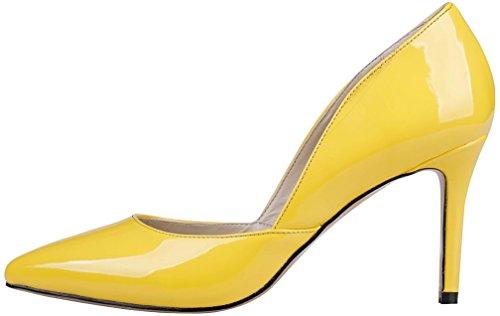 Calaier Ladies Camiss 8.5cm Stiletto Slip On Pumps Scarpe Gialle