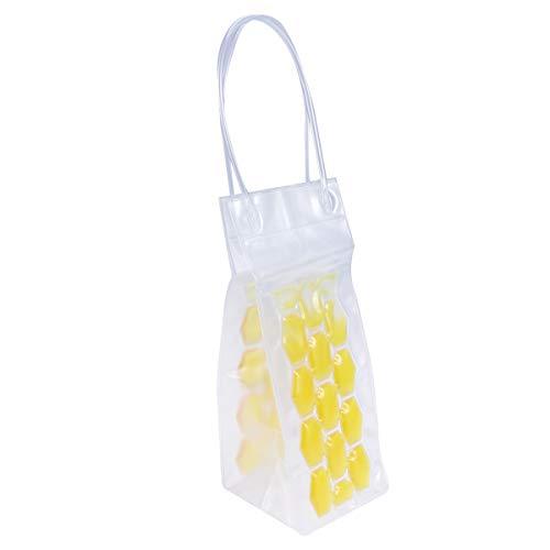 BESTONZON 750 ML PVC Champagne Vin Pouch Cooler Bag Ice Sac fourre-Tout en Gel Transparent de Protection de Transport avec poignée (Jaune)