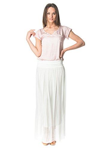 Laura Moretti - Gonna bianca lunga in seta con vita regolabile elastica
