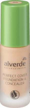 Alverde cosmétique naturel Perfect Cover Foundation & Concealer Caramel 40, 20 ml, végétalien