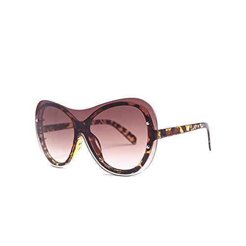 Sport-Sonnenbrillen, Vintage Sonnenbrillen, Women Fashion Cat Eye Sunglasses NEW Style Brand Men Cool One Piece Sun Glasses Big Frame Eyewear UV400 Goggles Oculos C5 Leopard.Tea