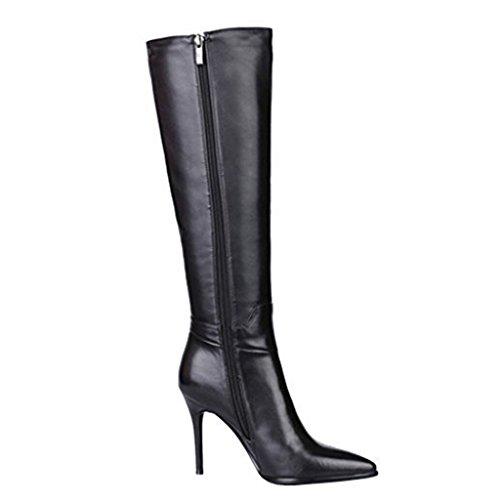 MERUMOTE Damen Stiletto Echtes Leder Spitze Zipper Knee High Stiefel Schwarz
