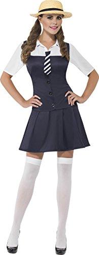 Smiffys, Damen Schulmädchen Kostüm, Kleid mit angesetztem Hemd, Schlips und Strohhut, Größe: L, (Kostüme Girl Scary)