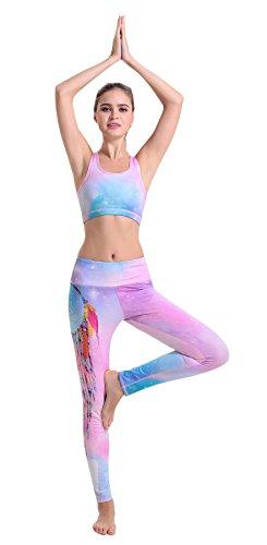 NiSeng Damen Star-Muster Bedruckt 2PCS Athletisch Workout Weste Gym Yoga mit Weste Jogginghose Fitnessstudio Fitness Set Medium