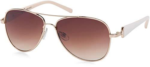 styleBREAKER elegante Damen Pilotenbrille getönt, Sonnenbrille mit lackierten Bügeln und Strassstein 09020053, Farbe:Gestell Gold-Weiß/Glas Braun verlaufend