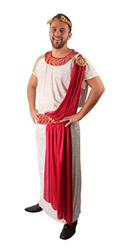 Julius Caesar Kostüm in Weiß-Rot | Größe: 50-52 | Toga & Lorbeerkranz für Römer-Verkleidung | Erwachsenenkostüm für Fasching / Karneval als römischer König oder Kaiser | Römer-Outfit für Herren (Römische Caesar Kostüm)