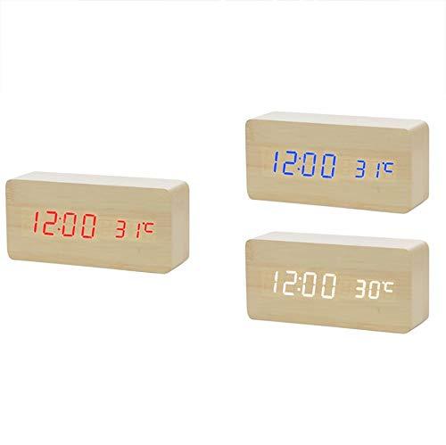 FJH LED Wecker, Multicolor Sound Control Holz Holz Quadrat Led Digital Wecker Nachttisch Tisch Digital Thermometer Holz Mit USB Datumsanzeige,Gelb