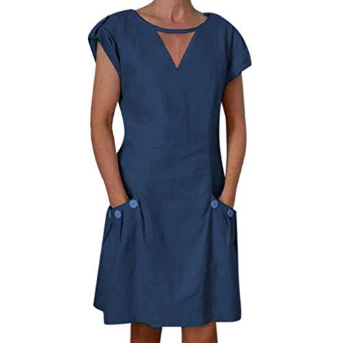 CANDLLY Kleider Damen, Mode Weich Strandkleid Solide Kurze ÄrmelKleid Elegant Festliche Leinen V-Ausschnitt Knopf Gerade Minikleid with Tasche(Marine,XL