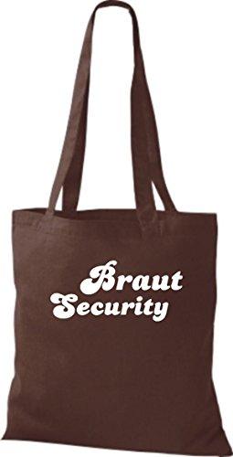 Shirtstown Stoffbeutel JGA Braut Security viele Farben braun