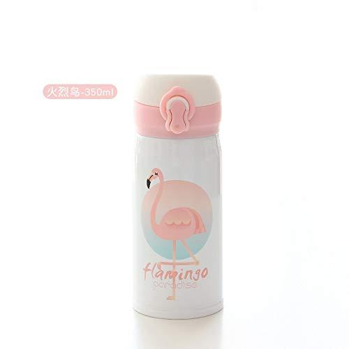 ZXXFR Fashion Flamingo Thermos Cup Rosa Mädchen Herzen Kunst Edelstahl Portable Schale Mit Deckel,...
