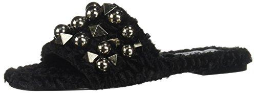 Steve Madden Womens Nauder Studded Casual Flat Sandals Black 5 Medium (B,M) Black Studded Flat