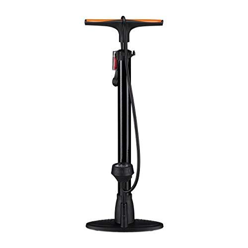Relaxdays Profi Standpumpe mit Manometer, Doppelpumpenkopf, Universal Luftpumpe, alle Ventile, Adapter, 60 cm, schwarz -