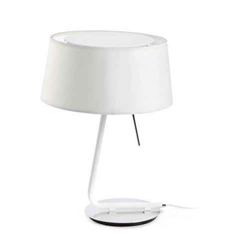 Faro Barcelona Hotel 29942–Desktop und Lampen Fuß, 20W, Metall/Textil, weiß Display
