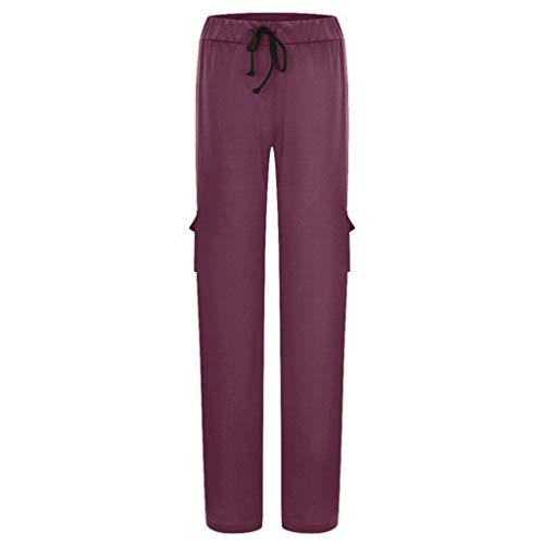 QIMANZI Freizeithosen Damen Anzughose Dehnbar Sanft Tasche Yoga-Hose Beiläufig Lose Hosen(A Wein,XL)