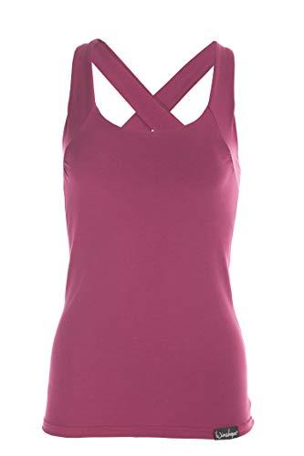WINSHAPE Sportbekleidung Damen Fitness Freizeit Sport Essential Slim Fit Cross Back Top WVR25 Tanktop, Berry-Love, L