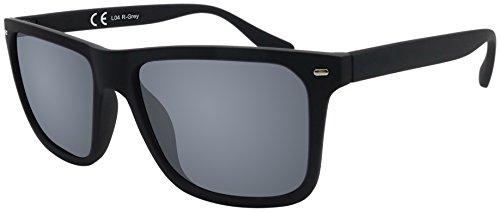 Sonnenbrille La Optica UV 400 Herren Männer Jugendliche Eckig - Einzelpack Gummiert Schwarz (Gläser: Grau)