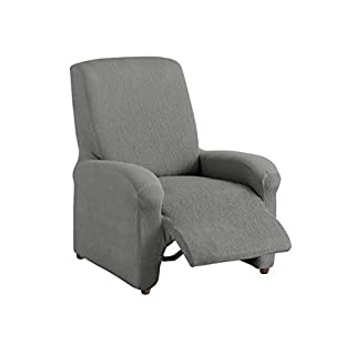 Textilhome - Housse Fauteuil Relax Compl?te TEIDE Elastique, Taille 1 Places- 70 a 100Cm. Couleur Grey
