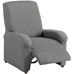 Textilhome - Housse Fauteuil Relax Complète TEIDE Elastique, Taille 1 Places- 70 a 100Cm. Couleur Grey