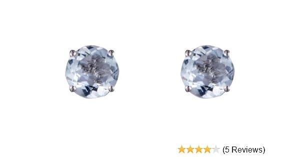 9ct WHITE GOLD Stud Earrings 6mm Round created Diamonds Men/'s Women/'s Gift Boxed