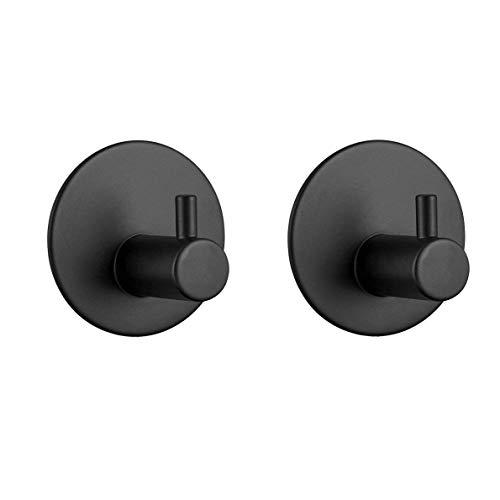 YinQ Badezimmer-Accessoires 304 Edelstahl selbstklebende Haken matt schwarz Handtuchhaken Tür Tuch Schlüssel Haken für Küche 2 Stück -