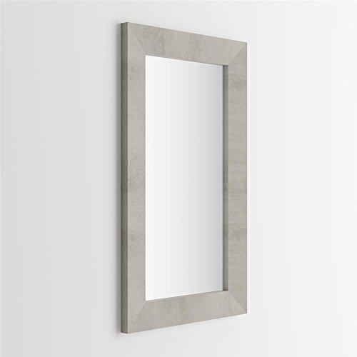Mobilifiver giuditta specchiera rettangolare, legno, cemento, 110x65x3 cm