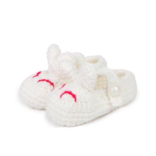 Smile YKK Gestrickte Krabbelschuhe Schuhe flauschige Baby-Unisex Länge 11 cm Flip Flops Violett Häschen Weiss F