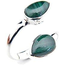 Ring Silber 925 Sterlingsilber Malachit grün Stein verstellbar (MRI 87)