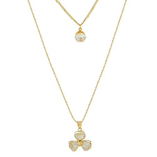 Maayra American Diamond Pendant Gold Cocktail Party Jewellery - Grand, Rhodium Plated, Brass based  available at amazon for Rs.355