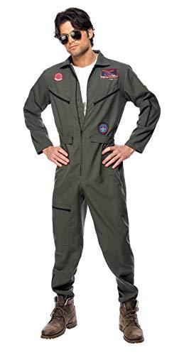 Smiffys, Herren Top Gun Kostüm, Overall, Namensschild und Sonnenbrille, Top Gun, Größe: XL, - Fancy Dress Kostüm Männer