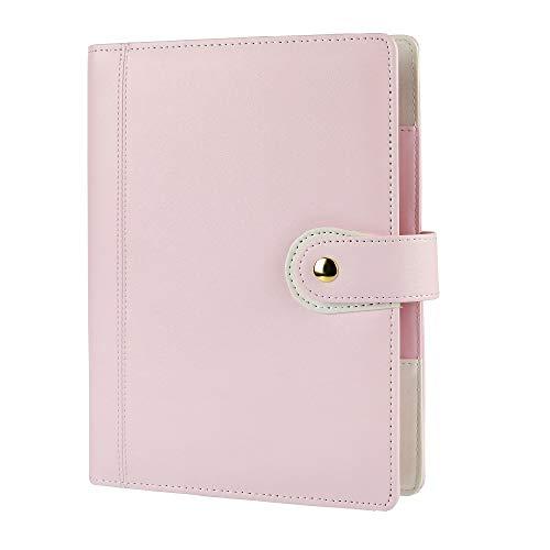 A5Planer Binder 6Ring Binder PU zeigen Persönliche Organizer mit Snap Button Light Pink (A523x 18,5cm) ()