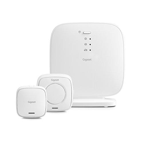 Gigaset Elements Security Pack; Alarmsirene/Türsensor; Starter Kit - mit Base Sicherheitshub/Tür Alarm; Sirene/Funktioniert mit Alexa, Google Assistant