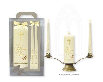 Religiöse Hochzeits-bands (Hochzeit Kerzen, mit Gold Kreuzen und Bands & Lourdes Gebet Karte)