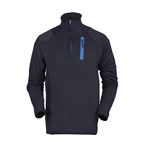 SWISSWELL Herren Fleece Jacke Halb-Zip Pullover Outdoor Sport Wander Trekking Jacke Schwarz M -