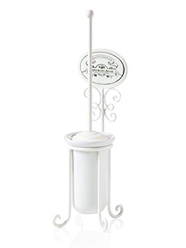 Porta scopino per il wc in ceramica e ferro bianco decorato con placca stampata in stile shabby chic. Dimensioni: 15x15x51 cm