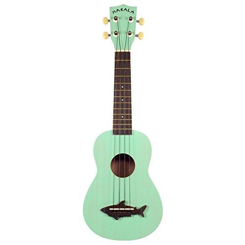 Makala-MK-SS-GRN-Shark-ukelele-Soprano-Vintage-con-bandera-de-del-puente-de-acabado-satinado-Surf-verde