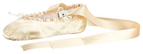 tanzmuster Ballettschuhe aus Satin Sandy mit Satinband, Geteilte Ledersohle - Ballettschuhe für Kinder und Erwachsene, Champagner, 24