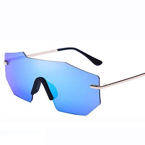 ETH Trend Sonnenbrille Universal Retro Siamese Brille Metall Flut Sonnenbrille dauerhaft (Farbe : Blue) -