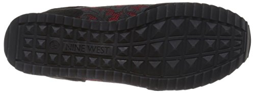 Nine West Telly Suede Fashion Sneaker Black/Red Multi