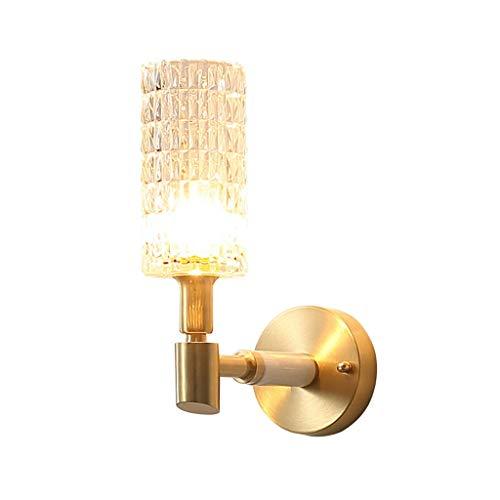 YangMi Wandlampe- Amerikanische Kristall-Wandlampe, Wohnzimmer-Schlafzimmer-Nachttischlampe, Treppenhausgang-Licht, einfacher Hintergrund-Wandleuchte (Farbe : Messing, größe : 12x31cm)