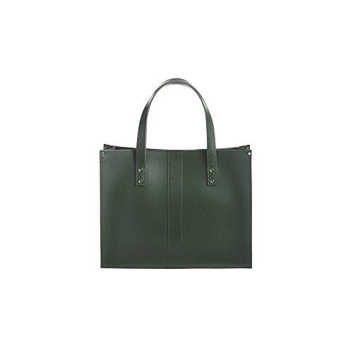 Zatchels Belvoir - Sac cabas en cuir (Fabrication britannique à la main) - Femme Vert