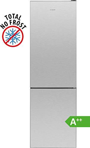 Bomann KG 7304 Kühl-Gefrierkombination / EEK A++ / Kühlen 180 L/Gefrieren 70 L/Höhe 180 cm/Breite 54 cm / 202 kWh/Jahr / Total No Frost / multiAirflow-System / Edelstahl-Optik