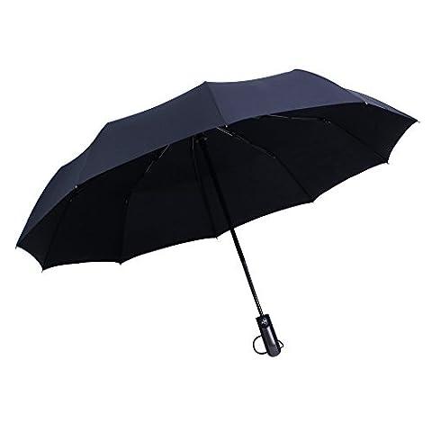 WILLIAM&KATE Bigger Windproof 10 Bone Durable Fully Automatic Three Fold Business Pure Black Umbrella (black)