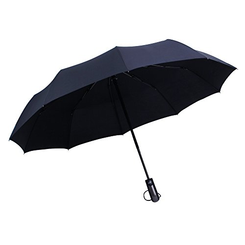 WILLIAM&KATE Bigger Windproof 10 Ours Durable entièrement automatique Three Fold Business Pure Black Umbrella (Noir)