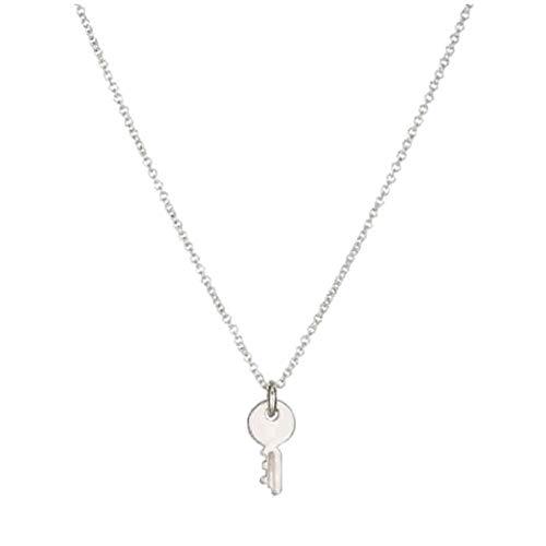 Toruiwa Damen Halskette Halsband Schlüsselbein Kette Halsband Halscollier mit Mini Schlüssel Anhänger für Party Hochzeit Geschenk Silber